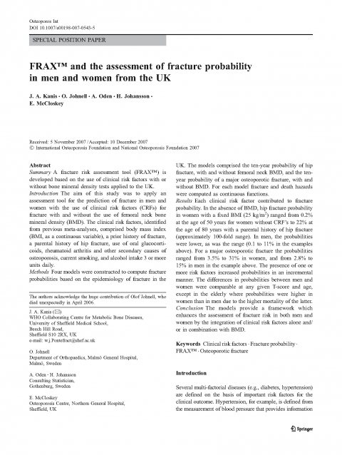 FRAX™ and the assessment of fracture probabilityin men and women from the UK_Page_01