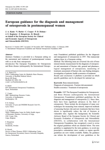 European guidance for the diagnosis and management of osteoporosis in postmenopausal women